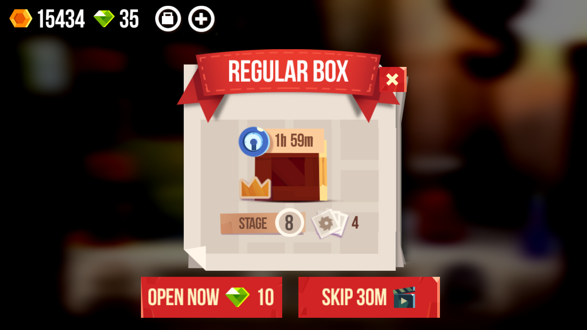 Skip Timers with Gems or Ads